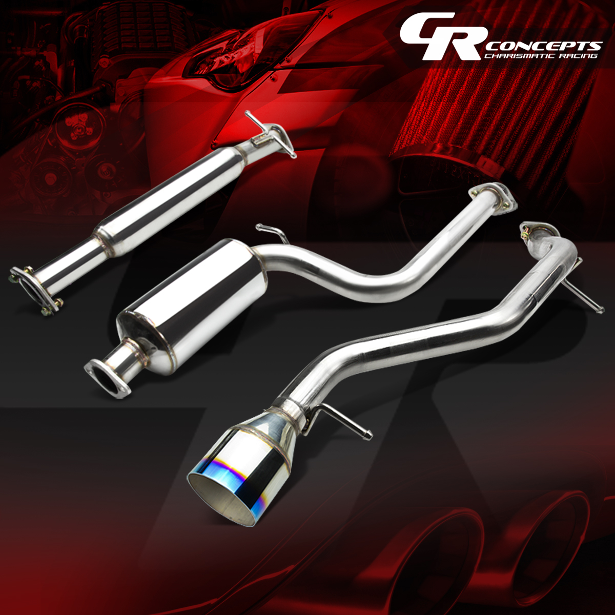 """4.5/"""" MUFFLER BURNT TIP PIPE CATBACK SYSTEM FOR 00-04 FORD FOCUS 2.0//2.3L ZX3//5"""